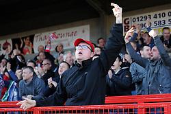 A Bristol City fan celebrates Bristol City's Aden Flint's goal - Photo mandatory by-line: Dougie Allward/JMP - Mobile: 07966 386802 - 07/03/2015 - SPORT - Football - Crawley - Broadfield Stadium - Crawley Town v Bristol City - Sky Bet League One