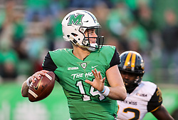 Nov 25, 2017; Huntington, WV, USA; Marshall Thundering Herd quarterback Chase Litton (14) passes the ball during the fourth quarter against the Southern Miss Golden Eagles at Joan C. Edwards Stadium. Mandatory Credit: Ben Queen-USA TODAY Sports