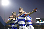 Queens Park Rangers players celebrate a goal fromm Queens Park Rangers midfielder Pawel Wszolek (15) 2-1  during the EFL Sky Bet Championship match between Queens Park Rangers and Ipswich Town at the Loftus Road Stadium, London, England on 2 January 2017. Photo by Andy Walter.