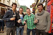 Friends and Rico Casey, Stephan Tummins from Newcastle for Arthur's day celebrating Guinness. Photo:Andrew Downes.