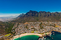 Aerial View, coastline with Twelve Apostles mountain range in background, Cape Town, South Africa.