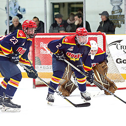 TRENTON, ON  - FEB 23,  2018: Ontario Junior Hockey League game between the Trenton Golden Hawks and the Wellington Dukes, Nelson Powers #23 of the Wellington Dukes, Declan Carlile #2 of the Wellington Dukes and Tyler Richardson #33 of the Wellington Dukes during the first period.<br /> (Photo by Ed McPherson / OJHL Images)