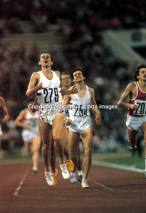August 1980: British athlete STEVE OVETT (GBR) winning the 800m Final. Seb Coe behind after coming second. Moscow Olympic Games. Photo: Leo Mason/Action Plus/ Photosport<br />