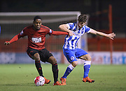 Jonathan Leko, West Bromwich Albion midfielder turns away from Dylan Barnett, Brighton defender during the Barclays U21 Premier League match between Brighton U21 and U21 West Bromwich Albion at the Checkatrade.com Stadium, Crawley, England on 25 January 2016.