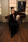 Ruth Rendell, crime novelist and Handel House Patron shows off a 260 year old Handel life mask in the composers bedroom in which he died. Handel Reveal'd' is an exhibition investigating Handel's life, drawing on objects from the museum's own collections and significant loans from national museums and private collectors.