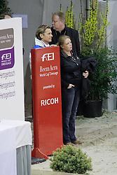 Edward Gal and Nicole Werner watching Hans Peter Minderhout <br /> Reem Acra World Cup Dressage<br /> CDI-W 'S Hertogenbosch 2011<br /> © Dirk Caremans
