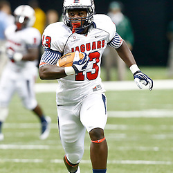 Sep 7, 2013; New Orleans, LA, USA; South Alabama Jaguars tight end Wes Saxton (13) runs after a catch against the Tulane Green Wave during the first quarter of a game at the Mercedes-Benz Superdome. Mandatory Credit: Derick E. Hingle-USA TODAY Sports
