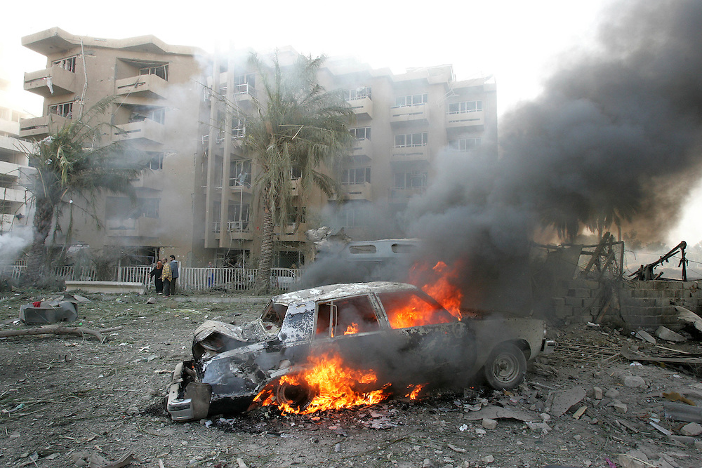 18th November 2005.Baghdad, Iraq.Hamra Bomb Attack..Two vehicles packed with explosives driven by suicide bombers attacked the Al-Hamra hotel complex at 0815 in Baghdad on the 18th November 2005. The houses of local residents where destroyed and at least 15 where killed and 40 wounded. The Al-Hamra hotel is used mainly by journalists and contractors. This attack comes just weeks after the Palestine hotel also home to the media and contractors was attacked in a similar manner.