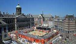 20150630 NED: WK Beachvolleybal day 5<br /> Centercourt Amsterdam klaar voor de laatste poule wedstrijden.