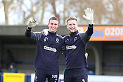 AFC Wimbledon goalkeeper George Long (1) and AFC Wimbledon goalkeeper Nicola Tzanev (25) waving during the EFL Sky Bet League 1 match between AFC Wimbledon and Walsall at the Cherry Red Records Stadium, Kingston, England on 25 November 2017. Photo by Matthew Redman.