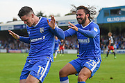 Gillingham midfielder Billy Knott (11) scores (2-1) and celebrates with Gillingham midfielder Bradley Dack (23)  during the EFL Sky Bet League 1 match between Gillingham and Coventry City at the MEMS Priestfield Stadium, Gillingham, England on 24 September 2016. Photo by Martin Cole.