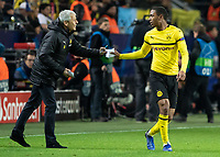 Football - 2018 / 2019 UEFA Champions League - Round of Sixteen, Second Leg: Borussia Dortmund (0) vs. Tottenham Hotspur (3)<br /> <br /> Lucien Favre, Manager of Borussia Dortmund, passes a note to Abdou Diallo (Borussia Dortmund) at Signal Iduna Park (Westfalenstadion).<br /> <br /> COLORSPORT/DANIEL BEARHAM