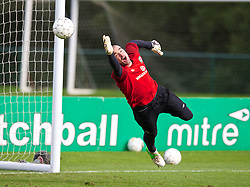 CARDIFF, WALES - Monday, October 14, 2013: Wales' goalkeeper Boaz Myhill during a training session at the Vale of Glamorgan ahead of the 2014 FIFA World Cup Brazil Qualifying Group A match against Belgium. (Pic by David Rawcliffe/Propaganda)