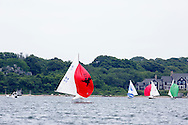 _V0A8083. ©2014 Chip Riegel / www.chipriegel.com. The 2014 Bullseye Class National Regatta, Fishers Island, NY, USA, 07/19/2014. The Bullseye is a Nathaniel Herreshoff designed 15' Marconi rig sailing boat.