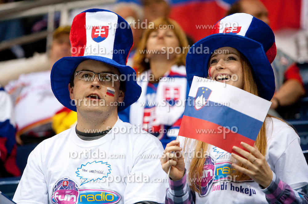 Fans of Slovenia during ice-hockey match between Slovenia and Germany of Group A of IIHF 2011 World Championship Slovakia, on May 3, 2011 in Orange Arena, Bratislava, Slovakia. Germany defeated Slovenia 3-2 after overtime and penalty shots. (Photo By Vid Ponikvar / Sportida.com)