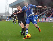 Max Power, Joe Bunney during the Sky Bet League 1 match between Rochdale and Wigan Athletic at Spotland, Rochdale, England on 14 November 2015. Photo by Daniel Youngs.