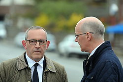 Nicola-Sturgeon, South Queensferry, 28-4-2016<br /> <br /> Stewart Hogie and John Swinney chat<br /> <br /> (c) David Wardle | Edinburgh Elite media