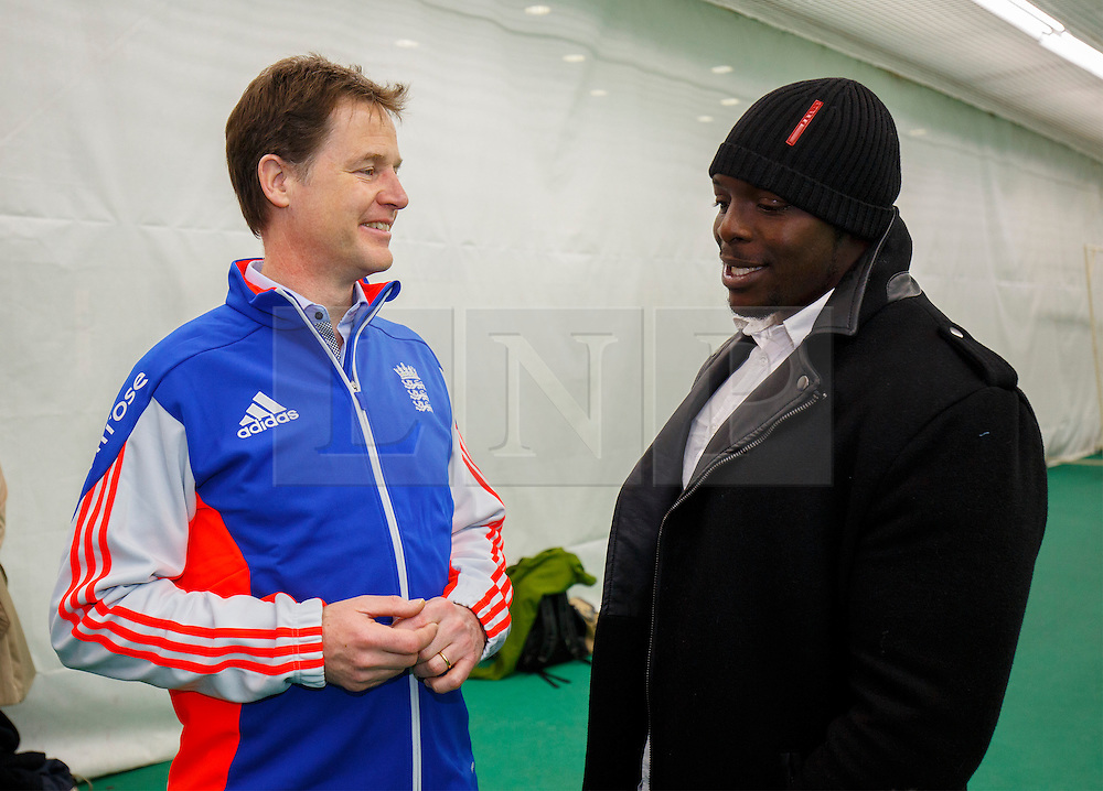 © Licensed to London News Pictures. 25/03/2015. LONDON, UK. Deputy Prime Minister Nick Clegg meets footballer Adebayo Akinfenwa as he launches a charter to tackle mental health discrimination in sports at Oval Cricket Ground in London on Wednesday, 25 March 2015. Rugby Football Union, English Cricket Board and the Football Association, have all committed to sign the charter committing to removing the stigma and prejudice around mental health from the world of sport. Photo credit : Tolga Akmen/LNP
