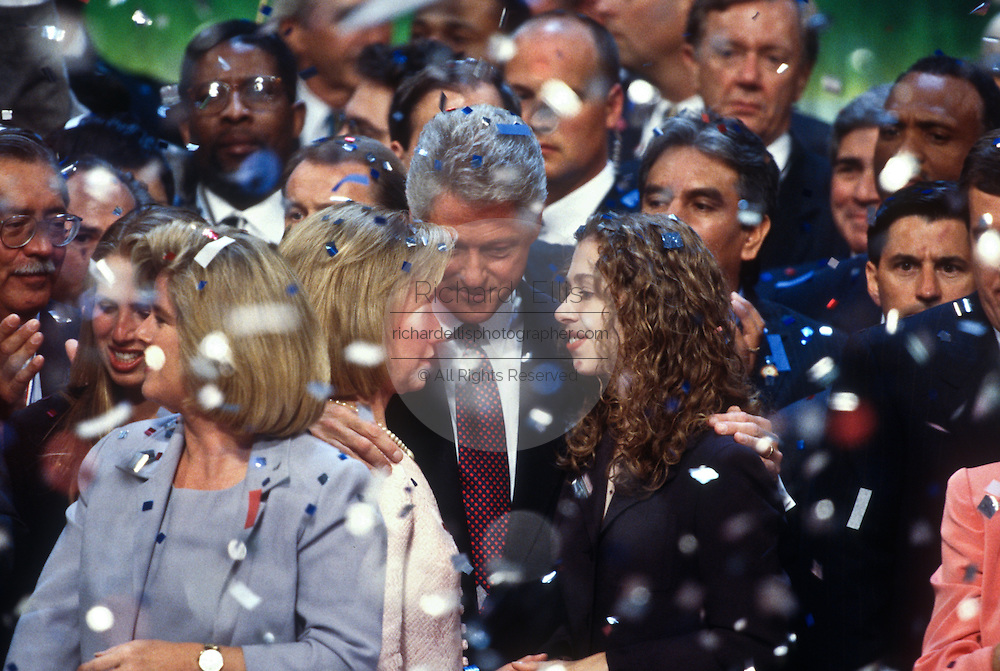 President Bill Clinton celebrates with daughter Chelsea and First Lady Hillary after his acceptance speech the Democratic National Convention August 29, 1996 in Chicago, IL.