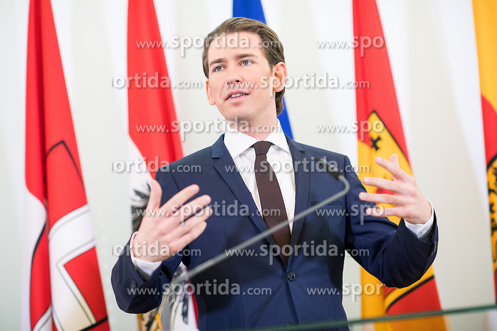 07.03.2018, Bundeskanzleramt, Wien, AUT, Bundesregierung, Pressefoyer nach Sitzung des Ministerrats, im Bild Bundeskanzler Sebastian Kurz (ÖVP) // Austrian Federal Chancellor Sebastian Kurz during media briefing after cabinet meeting at federal chancellors office in Vienna, Austria on 2018/03/07 EXPA Pictures © 2018, PhotoCredit: EXPA/ Michael Gruber