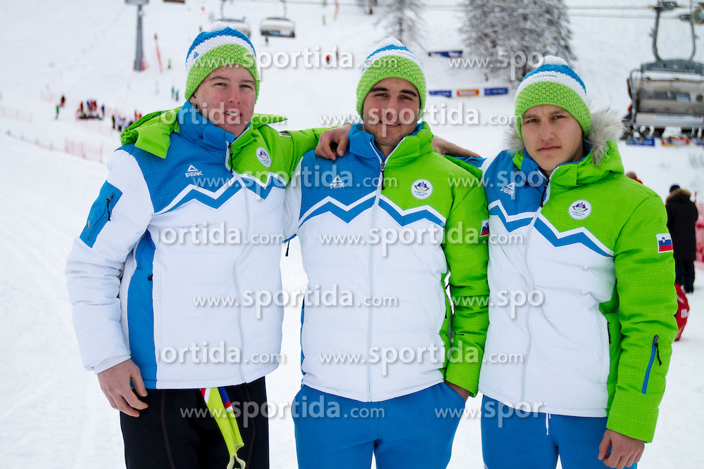 Matevz Rupnik, Andraz Rakovec and Kristof Fabjan at 12th European Youth Olympic Winter Festival in Vorarlberg and Liehtenstein on January 28, 2015. (Photo by Peter Kastelic / Sportida.com)