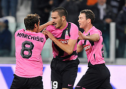 25.10.2011, Juventus Stadio, Turin, ITA, Serie A, Juventus Turin vs AC Florenz, im Bild L'esultanza per il gol di Leonardo Bonucci ( Juventus ) .Goal celebration.Torino 25/10/2011 Juventus Stadium.Serie A 2011/2012 .Football Calcio Juventus Fiorentina // during Serie A footballmatch between Juventus Turin vs AC Florenz at Juventus Stadium, Turin, Italy on 25/10/2011. EXPA Pictures © 2011, PhotoCredit: EXPA/ InsideFoto/ Giorgio Perottino +++++ ATTENTION - FOR AUSTRIA/(AUT), SLOVENIA/(SLO), SERBIA/(SRB), CROATIA/(CRO), SWISS/(SUI) and SWEDEN/(SWE) CLIENT ONLY +++++