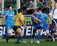 Florence, Italy -In the photo Bergamasco in action.Artemio Franchi stadium in Florence Rugby test match Cariparma.Italy vs Australia. (Credit Image: © Gilberto Carbonari).