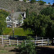 Farm house with white fence. Santa Rosa, CA. USA.