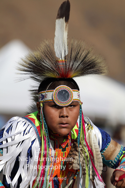 SAN BERNARDINO, CALIFORNIA, USA, OCTOBER 13, 2012.  The San Manuel Band of Indians hold their annual Pow Wow in San Bernardino on October 13, 2012. Dances include the Northern Contemporary, Northern Traditional, Chicken Dance, Southern Straight, Grass, Northern Fancy and Southern Fancy dances. <br /> <br /> The people at the San Manuel reservation are the indigenous people of the San Bernardino highlands, passes, valleys, and mountains who the Spaniards collectively called the Serrano, a term meaning highlander.(Source http://www.sanmanuel-nsn.gov)