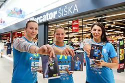 Alma Pandzic, Ines Amon and Olga Perederiy at Press Conference of RK Krim Mercator at start of the season 2018/19, on August 16, 2018 in Mercator Siska, Ljubljana, Slovenia. Photo by Matic Klansek Velej / Sportida