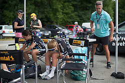 Drops Cycling Team riders prepare for the 121.5 km road race of the UCI Women's World Tour's 2016 Grand Prix Plouay women's road cycling race on August 27, 2016 in Plouay, France. (Photo by Balint Hamvas/Velofocus)
