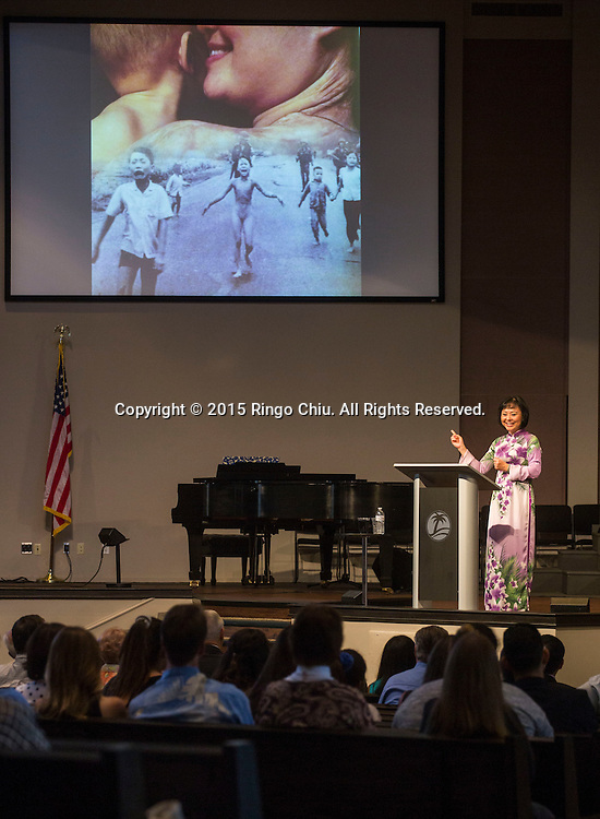 Kim Phuc Phan Thi, the subject of a Pulitzer-Prize winning Vietnam War-era photo as a child, Napalm Girl, speaks about her life and the power of forgiveness during the main worship service in Liberty Baptist Church, Newport Beach, California, Sunday, September 13, 2015. (Photo by Ringo Chiu/PHOTOFORMULA.com)