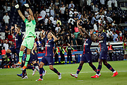 PSG Gianluigi Buffon celebrates with teammates after winning the French championship L1 football match between Paris Saint-Germain (PSG) and Caen on August 12th, 2018 at Parc des Princes, Paris, France - Photo Geoffroy Van der Hasselt / ProSportsImages / DPPI