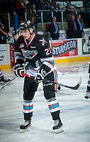 KELOWNA, CANADA - SEPTEMBER 25: Justin Kirkland #23 of Kelowna Rockets warms up against the Kamloops Blazers on September 25, 2015 at Prospera Place in Kelowna, British Columbia, Canada.  (Photo by Marissa Baecker/Shoot the Breeze)  *** Local Caption *** Justin Kirkland;