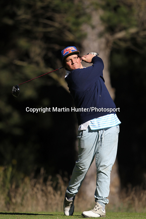 Jack Maylor of St Johns College tees off during the 2013 NZ Secondary Schools Golf Championship at Templeton Club, Christchurch, New Zealand. 2 September 2013. Photo: Martin Hunter/photosport.co.nz