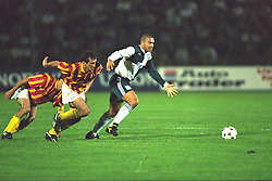 VLADIKAVKAZ, RUSSIA - Tuesday, September 12, 1995: Liverpool's Stan Collymore in action against FC Alania Spartak Vladikavkaz during the UEFA Cup 1st Round 1st Leg match at the Republican Spartak Stadium. (Photo by David Rawcliffe/Propaganda)