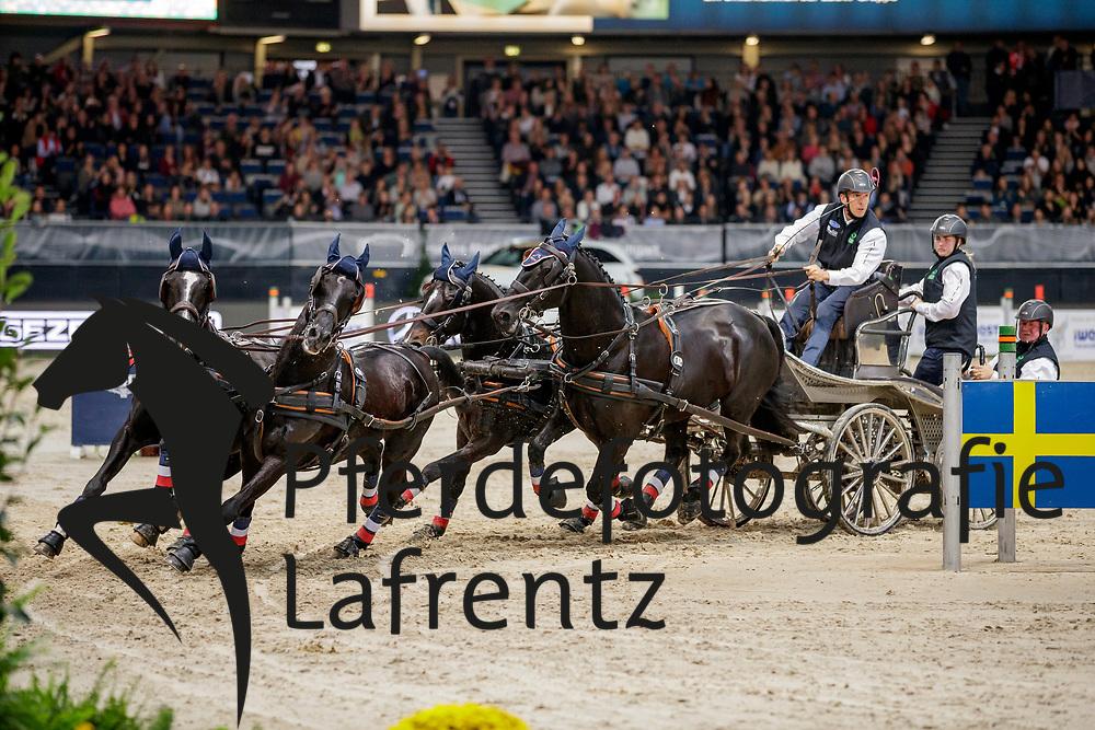 AILLAUD Benjamin (FRA), Favory Fantom, Maestoso Jupiter, Neapolitano Xxxiii-33, Siglavy Capriola Szultan<br /> Stuttgart - German Masters 2019<br /> Preis der Firma iWEST<br /> Einlaufprüfung für den FEI WORLD CUP™ DRIVING 2019/2020<br /> Int. Zeit-Hindernisfahren für Vierspänner mit zwei unterschiedlichen Umläufen CAI-W<br /> 15. November 2019<br /> © www.sportfotos-lafrentz.de/Stefan Lafrentz