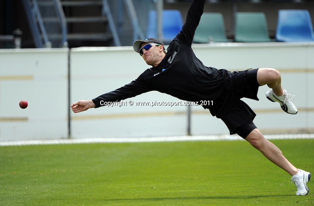 Brendon McCullum training ahead of the second cricket test match versus Australia in Hobart. Wednesday 7 December 2011. Photo: Andrew Cornaga/Photosport.co.nz