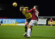 Oxford United Forward Danny Hylton and Northampton Town Defender Rodney McDonald during the Sky Bet League 2 match between Oxford United and Northampton Town at the Kassam Stadium, Oxford, England on 16 February 2016. Photo by Adam Rivers.