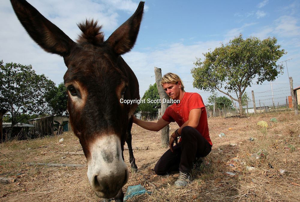 Jonathan Dunham, 33, of Laramie, Wyoming with his donkey that he calls Whothey in English but Judas in Spanish, in a poor barrio where he is staying in Tinaco, Venezuela on Sunday, February 10, 2008. Durham has been walking for the past two years, starting in Oregon. In Mexico he was given the donkey with which he has made the rest of the trek. He plans to continue walking to the tip of Argentina. (Photo/Scott Dalton).