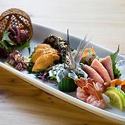 A plate of the chef's sashimi choice at Kushi, an Izakaya and Sushi restaurant in downtown Washington, DC.