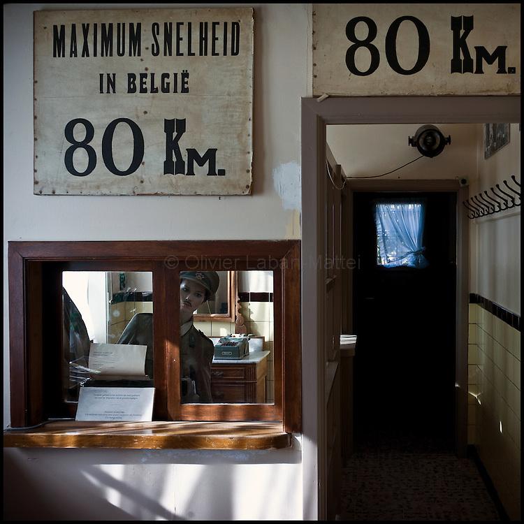 Le 23 octobre 2011, frontière Belgique / France, village de Poperinge (B), RN38. Photo de l'entrée du musée situé dans l'ancien poste frontière belge de Poperinge.