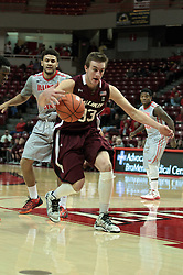 05 January 2014:  Sean O'Brien strolls up the back court during an NCAA  mens basketball game between the Salukis of Southern Illinois and the Illinois State Redbirds  in Redbird Arena, Normal IL.  Final score ISU 66, SIU 48
