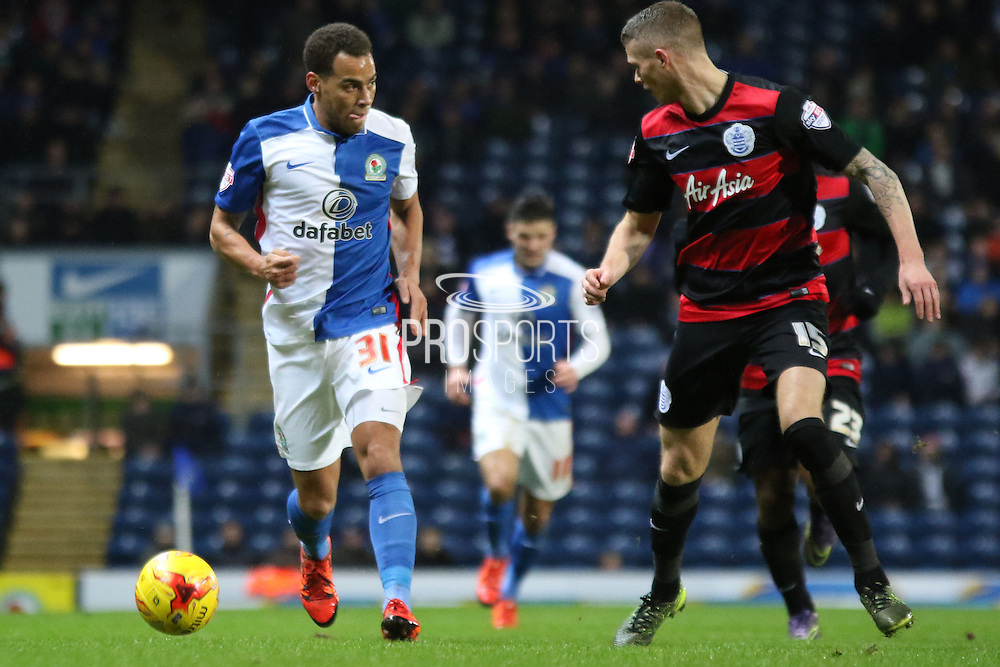 Elliot Bennet runs at Paul KonKonchesky during the Sky Bet Championship match between Blackburn Rovers and Queens Park Rangers at Ewood Park, Blackburn, England on 12 January 2016. Photo by Pete Burns.