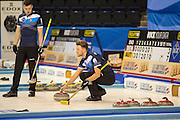 "Glasgow. SCOTLAND. Standing, Scotland's,  Hammy McMILLAN and on the ""Stone"" Ross PATERSON, during their  ""Round Robin"" Game. Le Gruyère European Curling Championships. 2016 Venue, Braehead  Scotland<br /> Tuesday  22/11/2016<br /> <br /> [Mandatory Credit; Peter Spurrier/Intersport-images]"