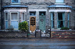© Licensed to London News Pictures. 29/12/2015. York, UK. Previously flooded property on Huntington Road in York town centre on December 29, 2015. Water levels in the area surrounding the Foss river have now dropped off.. Photo credit: Ben Cawthra/LNP