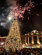 A display from Prestige Fireworks begins at the same time the tree comes on during the Santa parade and tree lighting celebration at The Greene towne square in Beavercreek, Saturday, November 19, 2011.