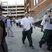 Oregon Ducks football team in Oklahoma for game against against the Sooners..Players arrive at OU stadium for the first time for Friday walkthru..Photos © Todd Bigelow/Aurora