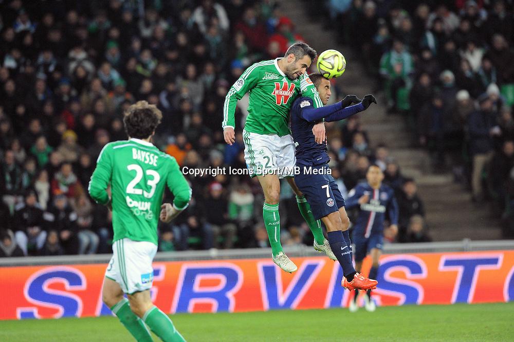 Loic PERRIN /  Lucas MOURA - 25.01.2015 - Saint Etienne / PSG  - 22eme journee de Ligue1<br />Photo : Jean Paul Thomas / Icon Sport