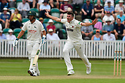 Craig Overton of Somerset appeals for a wicket during the Specsavers County Champ Div 1 match between Somerset County Cricket Club and Nottinghamshire County Cricket Club at the Cooper Associates County Ground, Taunton, United Kingdom on 10 June 2018. Picture by Graham Hunt.